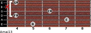 Amaj13 for guitar on frets 5, 7, 4, 6, x, 4