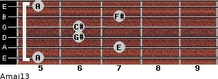 Amaj13 for guitar on frets 5, 7, 6, 6, 7, 5