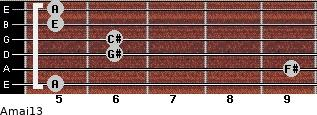 Amaj13 for guitar on frets 5, 9, 6, 6, 5, 5