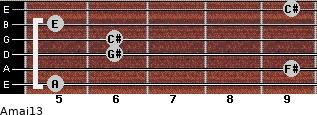 Amaj13 for guitar on frets 5, 9, 6, 6, 5, 9