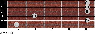 Amaj13 for guitar on frets 5, 9, 6, 9, 9, 9