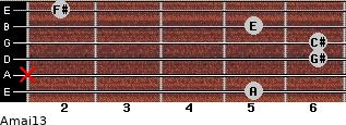Amaj13 for guitar on frets 5, x, 6, 6, 5, 2