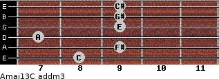 Amaj13/C add(m3) guitar chord