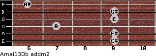 Amaj13/Db add(m2) guitar chord