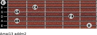 Amaj13 add(m2) for guitar on frets 5, 1, 4, 1, 2, 0