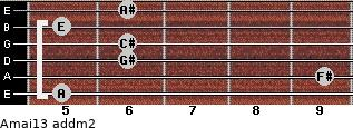 Amaj13 add(m2) for guitar on frets 5, 9, 6, 6, 5, 6