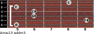 Amaj13 add(m3) for guitar on frets 5, 9, 6, 6, 5, 8