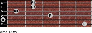 Amaj13#5 for guitar on frets 5, 0, 3, 1, 2, 2