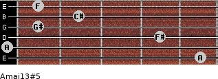 Amaj13#5 for guitar on frets 5, 0, 4, 1, 2, 1