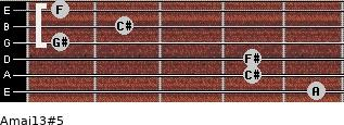 Amaj13#5 for guitar on frets 5, 4, 4, 1, 2, 1