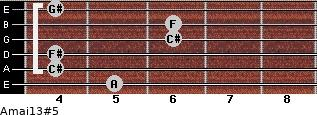 Amaj13#5 for guitar on frets 5, 4, 4, 6, 6, 4