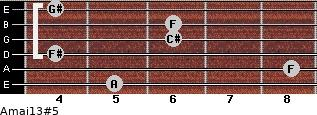 Amaj13#5 for guitar on frets 5, 8, 4, 6, 6, 4