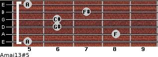 Amaj13#5 for guitar on frets 5, 8, 6, 6, 7, 5