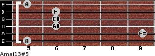 Amaj13#5 for guitar on frets 5, 9, 6, 6, 6, 5