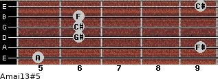 Amaj13#5 for guitar on frets 5, 9, 6, 6, 6, 9