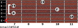 Amaj13#5\G# for guitar on frets x, 11, 7, 10, 7, 9