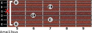 Amaj13sus for guitar on frets 5, 7, 6, x, 7, 5