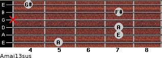 Amaj13sus for guitar on frets 5, 7, 7, x, 7, 4
