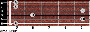 Amaj13sus for guitar on frets 5, 9, 6, 9, 5, 5