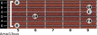 Amaj13sus for guitar on frets 5, 9, 6, 9, 9, 5