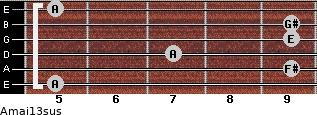 Amaj13sus for guitar on frets 5, 9, 7, 9, 9, 5