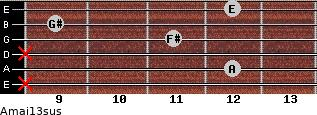 Amaj13sus for guitar on frets x, 12, x, 11, 9, 12