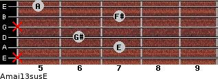 Amaj13sus/E for guitar on frets x, 7, 6, x, 7, 5