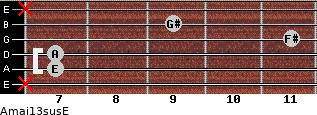 Amaj13sus/E for guitar on frets x, 7, 7, 11, 9, x