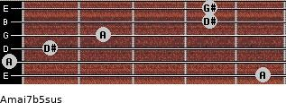 Amaj7b5sus for guitar on frets 5, 0, 1, 2, 4, 4