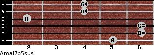 Amaj7b5sus for guitar on frets 5, 6, 6, 2, 4, 4