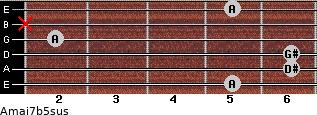 Amaj7b5sus for guitar on frets 5, 6, 6, 2, x, 5