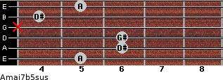 Amaj7b5sus for guitar on frets 5, 6, 6, x, 4, 5