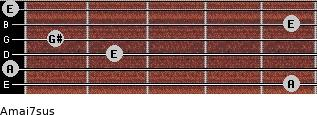 Amaj7sus for guitar on frets 5, 0, 2, 1, 5, 0