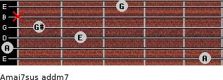 Amaj7sus add(m7) for guitar on frets 5, 0, 2, 1, x, 3