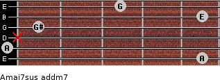 Amaj7sus add(m7) for guitar on frets 5, 0, x, 1, 5, 3