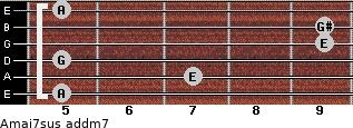 Amaj7sus add(m7) for guitar on frets 5, 7, 5, 9, 9, 5