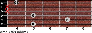 Amaj7sus add(m7) for guitar on frets 5, 7, 5, x, x, 4