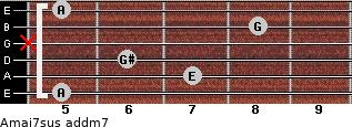 Amaj7sus add(m7) for guitar on frets 5, 7, 6, x, 8, 5