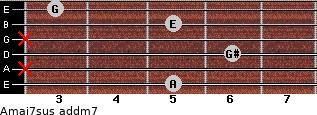 Amaj7sus add(m7) for guitar on frets 5, x, 6, x, 5, 3