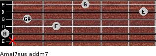 Amaj7sus add(m7) for guitar on frets x, 0, 2, 1, 5, 3