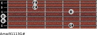 Amaj9/11/13/G# for guitar on frets 4, 0, 0, 4, 2, 2