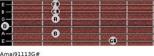 Amaj9/11/13/G# for guitar on frets 4, 2, 0, 2, 2, 2