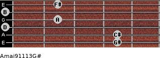 Amaj9/11/13/G# for guitar on frets 4, 4, 0, 2, 0, 2