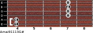 Amaj9/11/13/G# for guitar on frets 4, 4, 7, 7, 7, 7