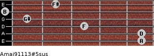Amaj9/11/13#5sus for guitar on frets 5, 5, 3, 1, 0, 2
