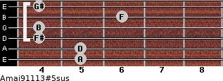 Amaj9/11/13#5sus for guitar on frets 5, 5, 4, 4, 6, 4