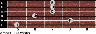 Amaj9/11/13#5sus for guitar on frets 5, 8, 6, 7, 7, 7