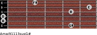 Amaj9/11/13sus/G# for guitar on frets 4, 0, 0, 4, 5, 2