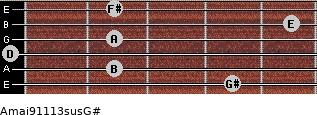Amaj9/11/13sus/G# for guitar on frets 4, 2, 0, 2, 5, 2