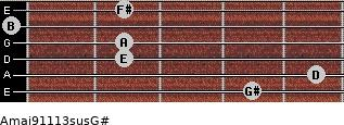 Amaj9/11/13sus/G# for guitar on frets 4, 5, 2, 2, 0, 2